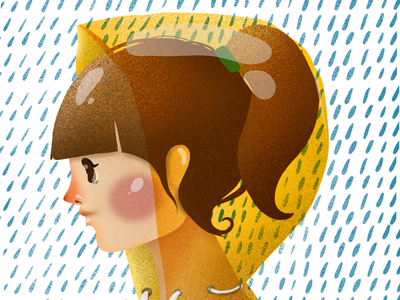 Yellow elena greta apostol ipad pro digital art children book illustration procreate yellow raincoat