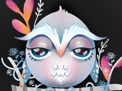 Wise Owl elena greta apostol procreate illustration children book character bird owl ruddy owl