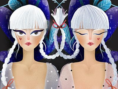 Double trouble elena greta apostol digital art procreate symmetry blonde twins