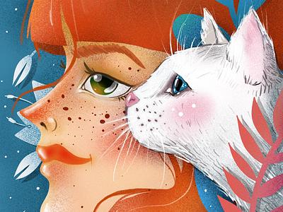 White noise illustration elena greta apostol digital art ipad pro procreate white cat redhead ginger white noise