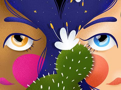 Soul sisters digital art procreate elena greta apostol hair stars sky symmetry portrait eyes cactus soul sisters