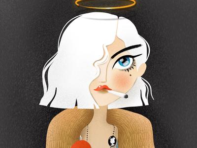 Ms. Roxie Hart illustration elena greta apostol digital art procreate portrait white hair character musical chicago ms. roxie hart