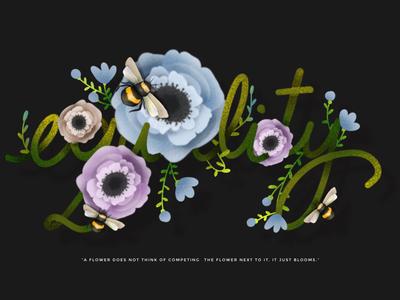 Equality elena greta apostol digital art procreate quote plants flowers calligraphy typography type equality