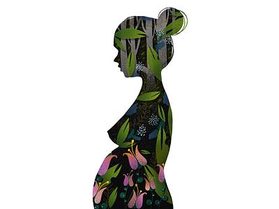 My body digital art procreate elena greta apostol profile bloom flowers womb pregnancy pregnant belly my body