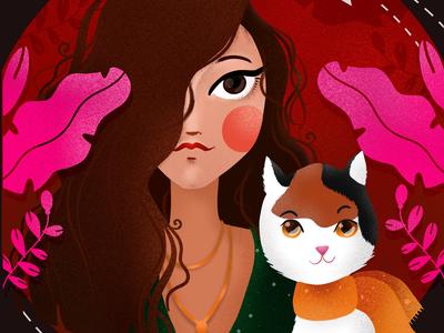 Inka digital art ipad pro procreate elena greta apostol pink magenta red plants cat curly portrait