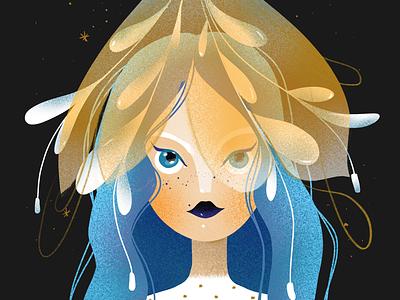 It's cold outside ipad pro procreate elena greta winter girl portrait blue hair hat bloom flower