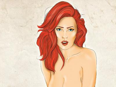 Dribbble 158 little miss mermaid illustration nude erotic art pin-up tattoo red hair ginger iscariotteh elena-greta apostol portrait full-body