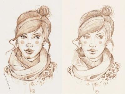 Dribbble 160 sketch portrait girl sepia watercolor pencil paper scarf hair bun lips eyes sketchbook iscariotteh elena-greta apostol