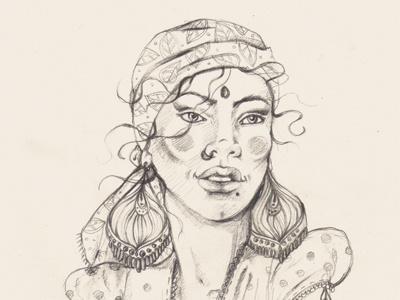 Dribbble 164 iscariotteh elena-greta apostol fashion illustration india oriental gipsy girl portrait hair eyes jewelry sketch pencil dots breast