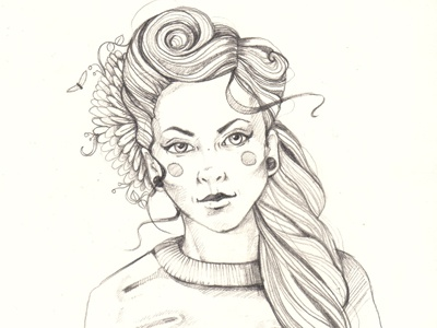 Dribbble 188 pin me up with a flower iscariotteh elena-greta apostol sketch sketchbook art illustration fashion inspiration heart nails flash tunnels bee