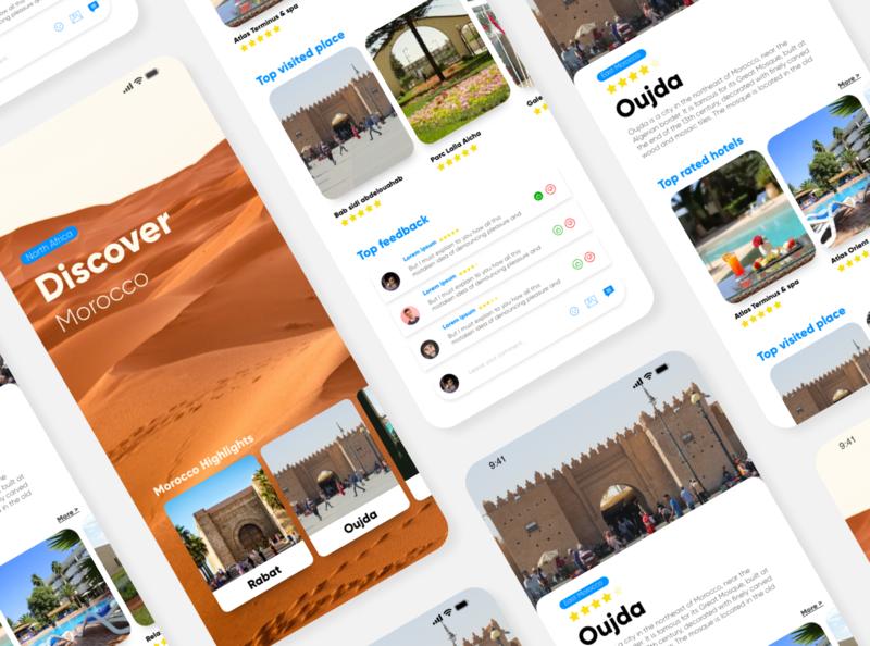Discover Morocco UI App tourism app tourism website tourist tourism concept design concept application design ui design uiux uidesign application app design ios mobile app ux ui minimal clean design