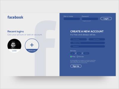 Facebook SignUp Page facebook log in sign sign up sign in signup page landing landing page concept landing design website redesign web mobile flat ux ui minimal design clean