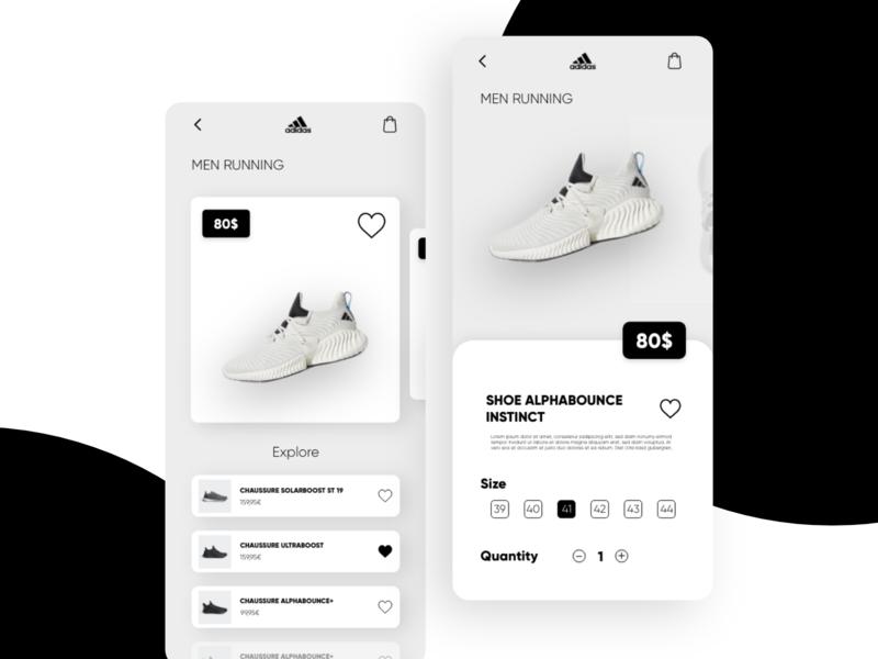 Shoes App nike adidas interaction design interface application app design clean app mobile design ux ui minimal