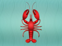 The world is your Lobster crustacean prawn digitalillustration digitalart waves seaanimals summer sea teal red lobster illustration adobeillustator