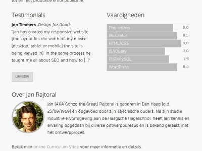 New About Page redesign gonzodesign about page avatar css chart