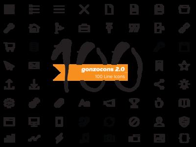 gonzocons 2.0 Icon Font (100 line icons)