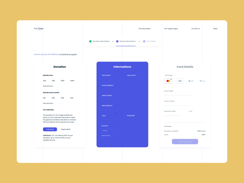 Donation UI and UX Website page figma poppins payment step by step informations details card website donation association experience design digital web design desktop ux user interface design user experience ui digital design