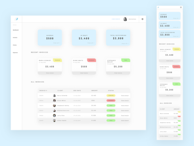 Dashboard interface UI - Desktop & Mobile