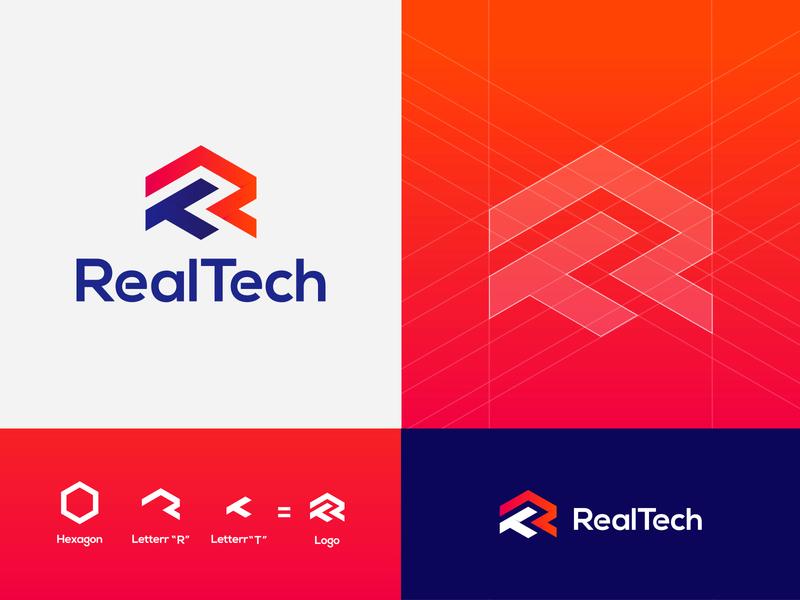 RealTech app ux icon vector clean hitech illustration elegant elegent gradinet logo letter r and t logo letter r and t logo logo branding design fintech logo modern typography