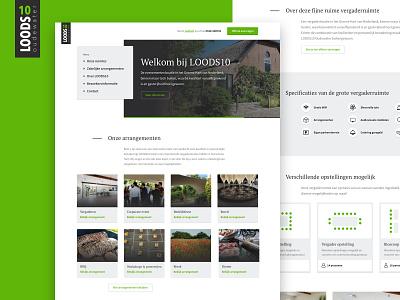 Layout design Loods10 Oudewater utrecht ux ui design freelance green homepage wordpress template business meetinglocation meeting webdesign layout