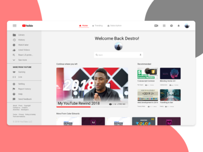 YouTube home page redesign