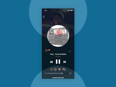 Dark themed music player for mobile.