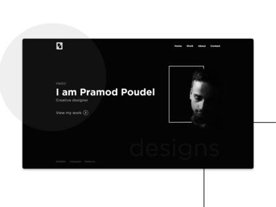 Black And White Landing Page Design - Personal Portfolio
