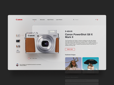 Canon Store ui design uu ux web design webpage website digital landing tech photo photography lens store e-commerce camera canon