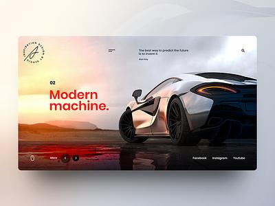Modern Machine inspiration interaction interface trend web design machine modern auto tech gradient car webpage website ui design landing