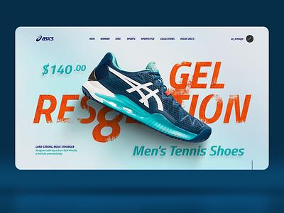 Concept web design for Asics deportive arena texture 3d theme template redesign concept creative inspiration shoe asics sports tenis uiux website web interaction interface