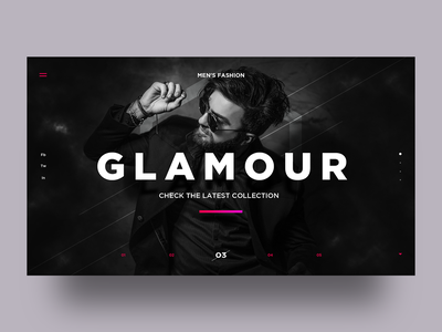 Glamour inspiration landingpage webpage website graphic design concept interaction interface developer frontend wordpress temas template black and white men fashion glamour