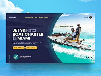 Travellers product digital interface interaction inspiration ui design landingpage website caribe watter vacations beach surf jet ski sea travellers