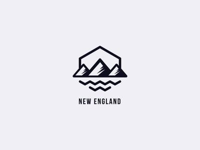 New Englad diseño vector english pasion country sintesis sea mountain exagon icons inspiration brand logo england