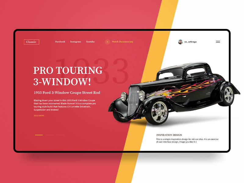Classic Cars black transport street coupe windows touring creative vehicle webpage website trend concept interface landing page classic ford car