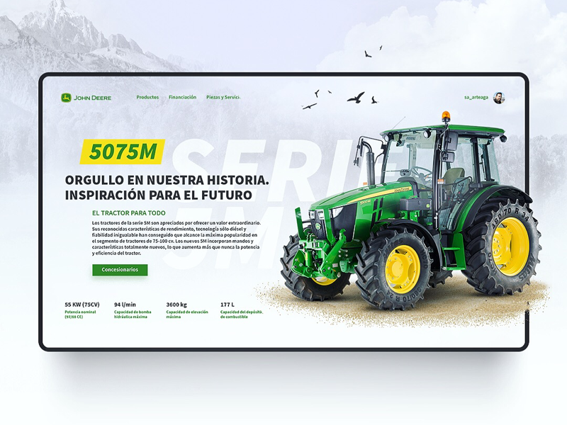 Concept Design for John Deere Website desktops product landing theme template interaction john deere web design inspiration interface website tractor