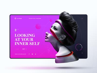 Inner Self cut pink gradient graphic design concept uiux template web inspiration interface web design interaction trend webdesign website landingpage woman self inner
