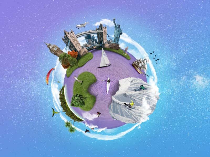 Planet Lilango world app collage art language cosmic planet collage photocollage photocomposition illustration