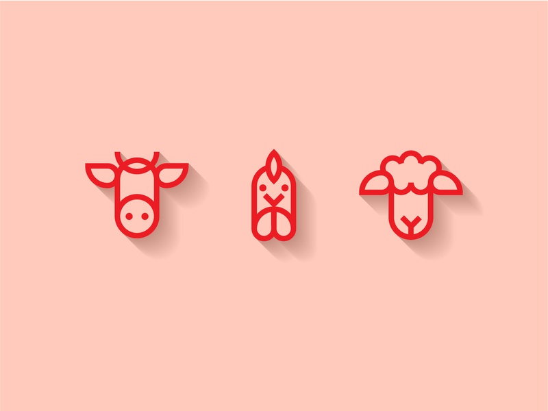 Butcher Icons grocery store illustration flat logo beef lamb chicken animals halal meat food vector design icon
