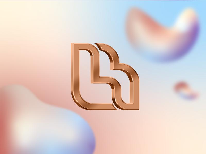 Hein beauty identity rebranding gold pastel color beauty salon beauty logo gradient vector design branding 3d clean icon logo brand