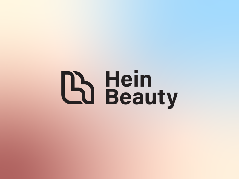 Hein Beauty lettermark monogram lips beauty logo beauty salon typography icon flat vector clean design brand branding logo