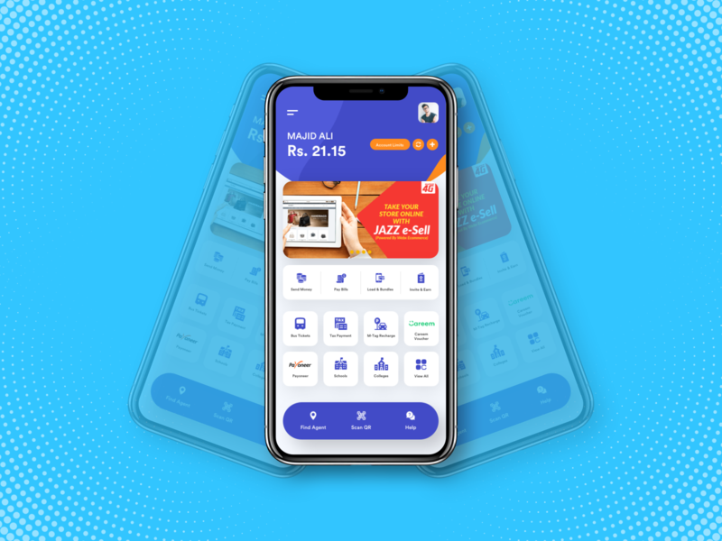 Jazz Cash - App Home screen