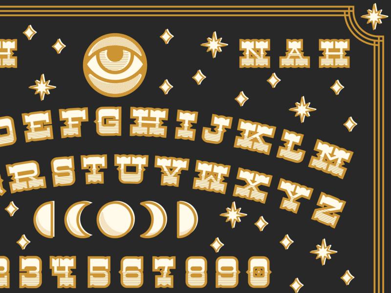 Western Ouija Board yee haw slab serif western design font typography graphic design ouija board
