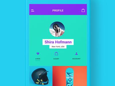 Profile - Snowhills Snowboard App e-commerce sport snowboard application ui design