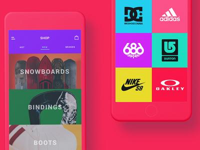 Shop - Snowhills Snowboard App e-commerce sport snowboard application ui design