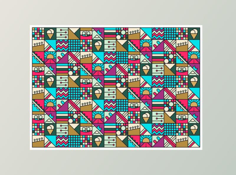 Pattern composition multicolored stripes tile patchwork cube flat patterns illustration vector color geometric shapes grid pattern hipster