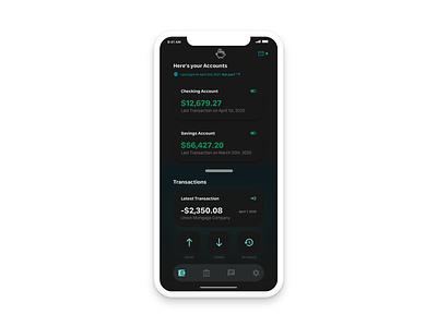 Dark Mode Banking App UI Concept mobile web ios app ios inspiration dark bank minimal design ux ui