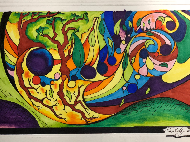Rainbow Abstraction abstract colorful rainbow artist marker illustration