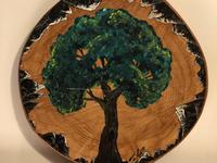 Painting of tree on wood log natural artist nature painting commissioned painting artist painting artwork
