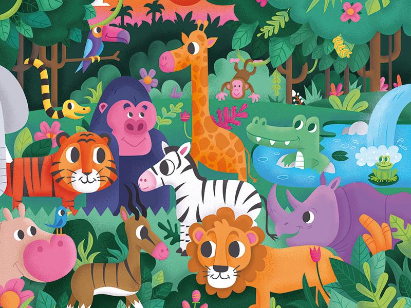 Wildlife puzzle jungle animals wildlife puzzle illustration keuj
