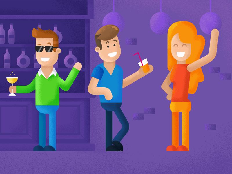 Night Party party insurance vector flatdesign motion motiondesign freelance illustration keuj